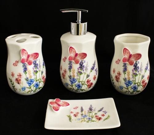4 teiliges Porzellan Badezimmer Accessoires-Set BS-10