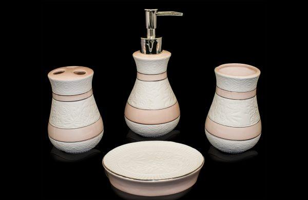 4 teiliges Porzellan Badezimmer Accessoires-Set BS-11 pink-weiß ...
