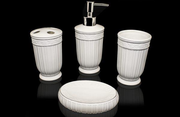 4 teiliges Porzellan Badezimmer Accessoires-Set BS-12 weiß | Dematex