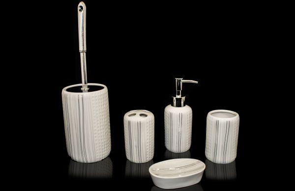 6 teiliges Porzellan Badezimmer Accessoires-Set BS-7 | Dematex